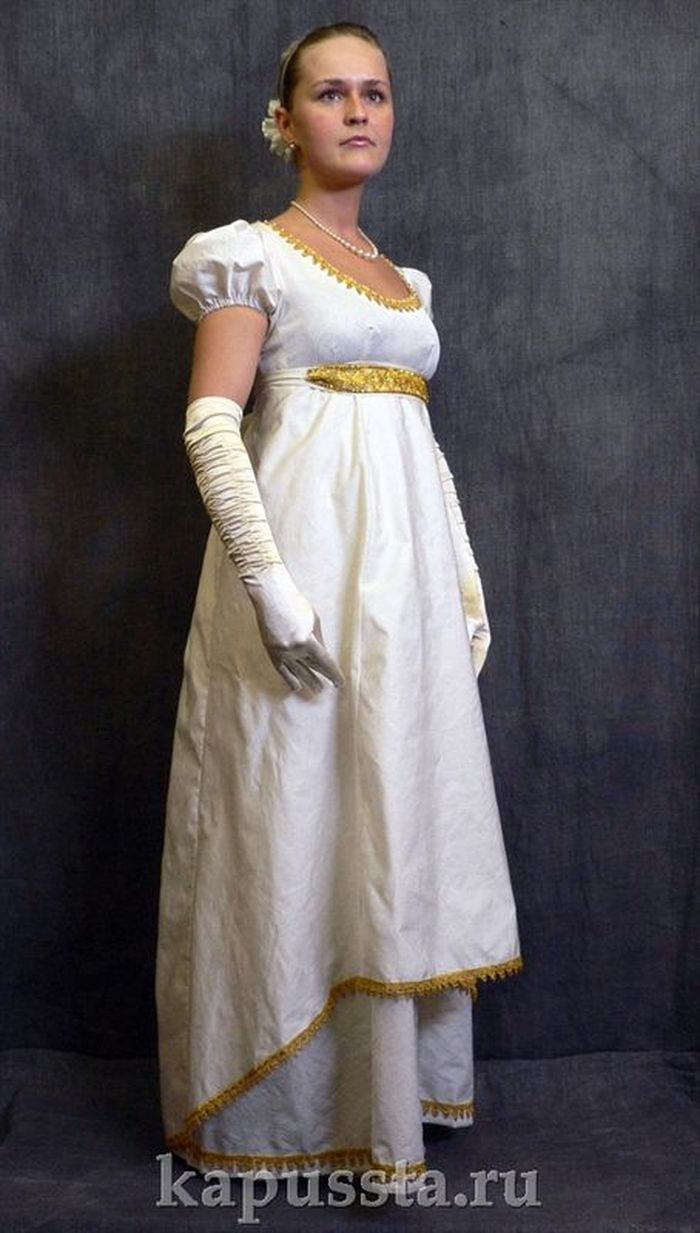 White dress with gold belt