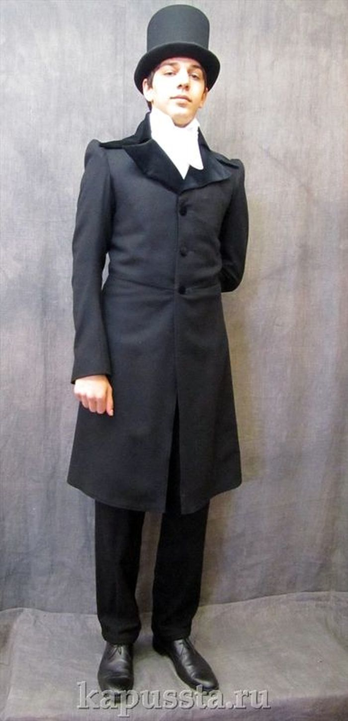 Black frock coat with a cylinder