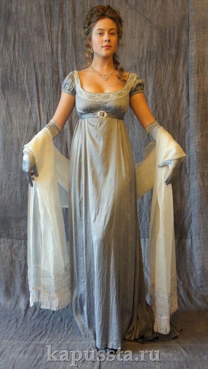 Silk gray dress with stole