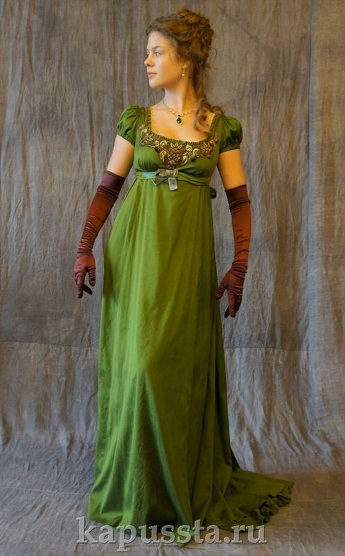 Green dress with brown gloves