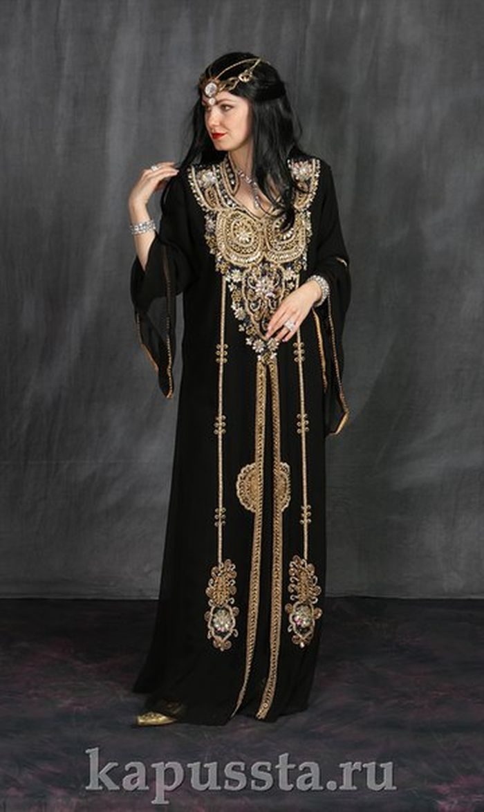 Black oriental costume with gold