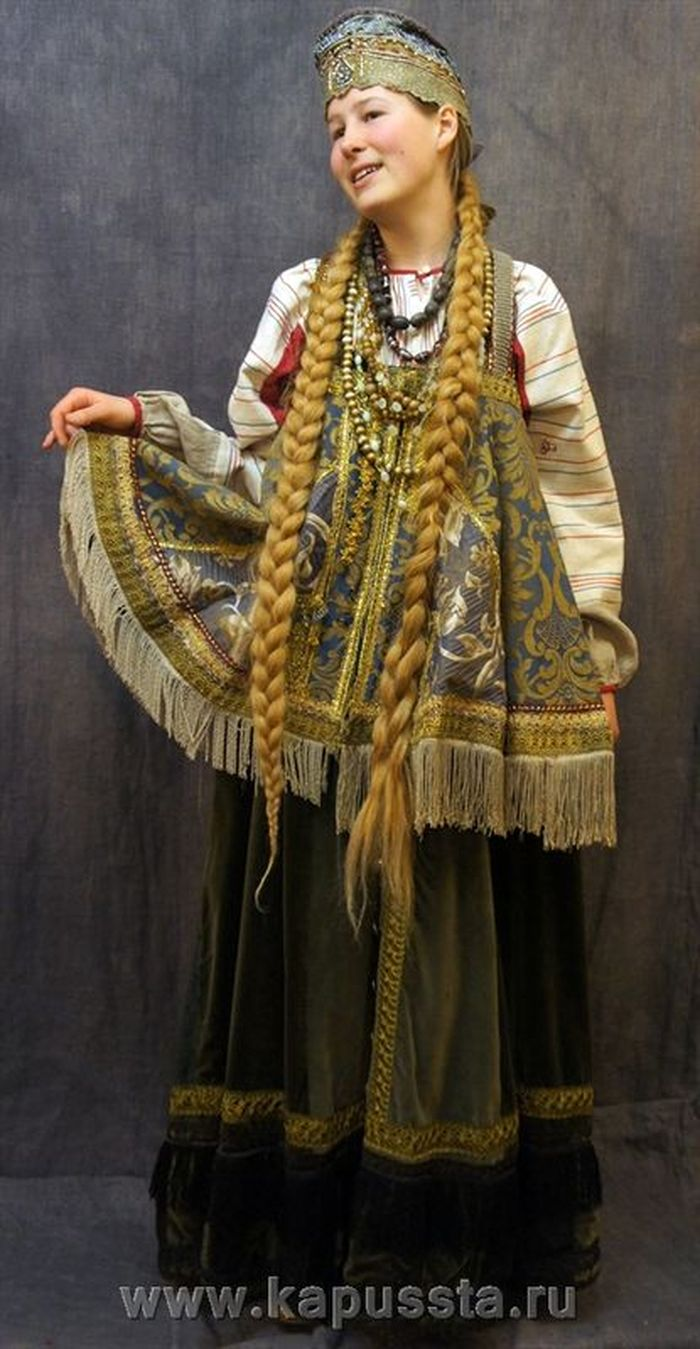 Costume of a girl with braids