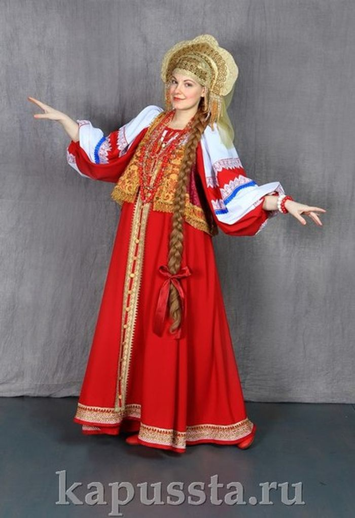 Russian costume in a gold kokoshnik