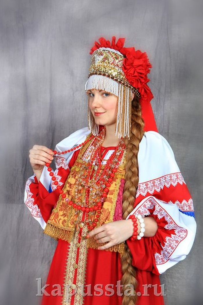 Russian costume with beads
